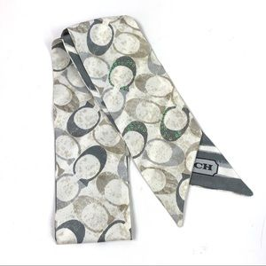 Coach Signature Pony Tail Scarf in Gray Sequins
